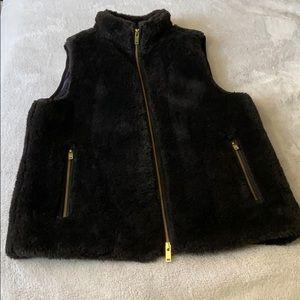 Faux Fur Fleece J Crew Black Zip up Vest